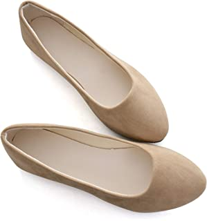 STUNNER Women Cute Slip-On Ballet Shoes Soft Solid Classic Pointed Toe Flats Khaki 43