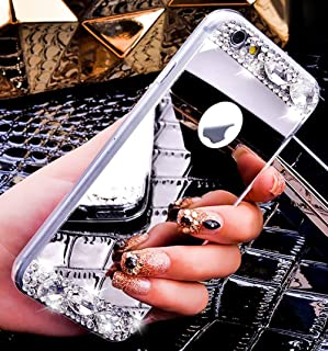 IKASEFU Silicone Case TPU Bumper Protective Crystal Rhinestone Sparkle Glitter Diamond Soft Rubber Back Case Cover Compatible with iPhone SE/5S/5 (Silver)