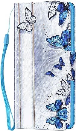 Kompatibel f�r Xiaomi Redmi 5A H�lle Ledertasche Flip Case,QPOLLY Premium PU Leder Gemalt Muster Klapp Schutzh�lle im Bookstyle mit Kredit Karten Fach Magnet Handy H�lle Tasche,Blauer Schmetterling : B�robedarf & Schreibwaren
