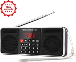 [Upgraded] J-288 AM/FM Radio Portable, Hands-Free Bluetooth Radio Stereo Speaker with Sleep Timer, Ultra-Long Antenna, Earphones Jack, AUX Input & USB Disk & TF Card MP3 Player, by PRUNUS(Black)