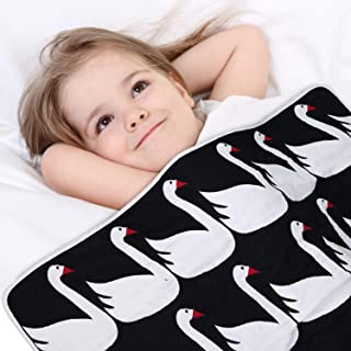 """Mom's Love Muslin Baby Toddler Blanket 6-Layer Lightweight and Breathable Oversized Muslin Baby Quilt for Boys and Girls """"Swan Print"""" Bed Blanket Warm Crib Blanket 53x45 inches"""