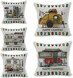 Nunubee Set of 5 Christmas Decorations Throw Pillow Covers Cushion Cover Square Pillow Cases (18x18 Inch, Happy Campers)