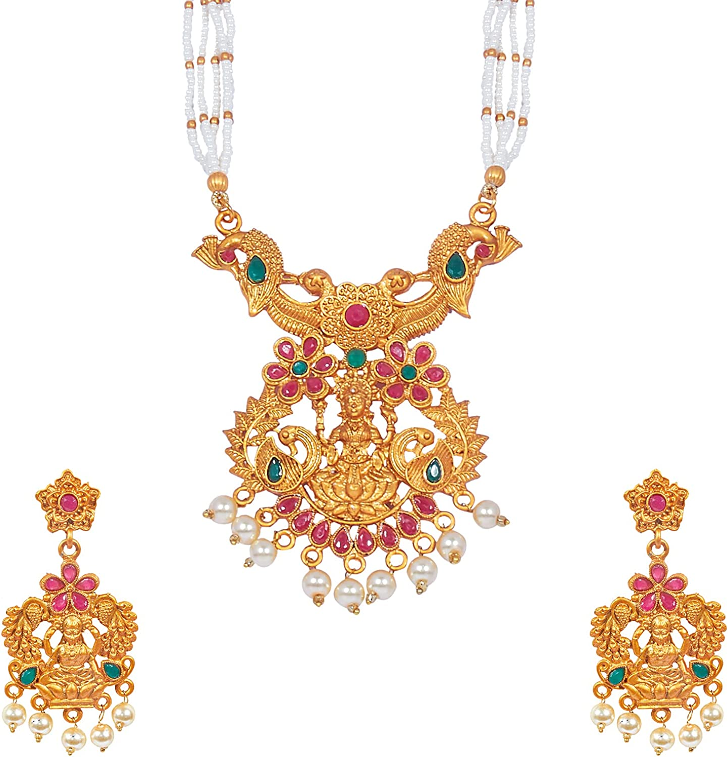 Bodha Tradtional Indian Handcrafted Antique Gold Plated Temple Jewellery Combo Bridal Dulhan Necklace Set With Matching Earring & Pearls For Women (SJ_2942)