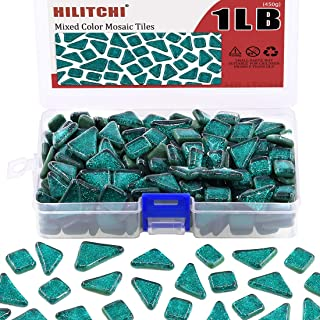 Hilitchi 1lb Assorted Stained Glass Mosaic Tiles Mixed Shapes and Colors Glass Pieces for DIY Crafts, Plates, Picture Frames, Flowerpots, Handmade Jewelry and More