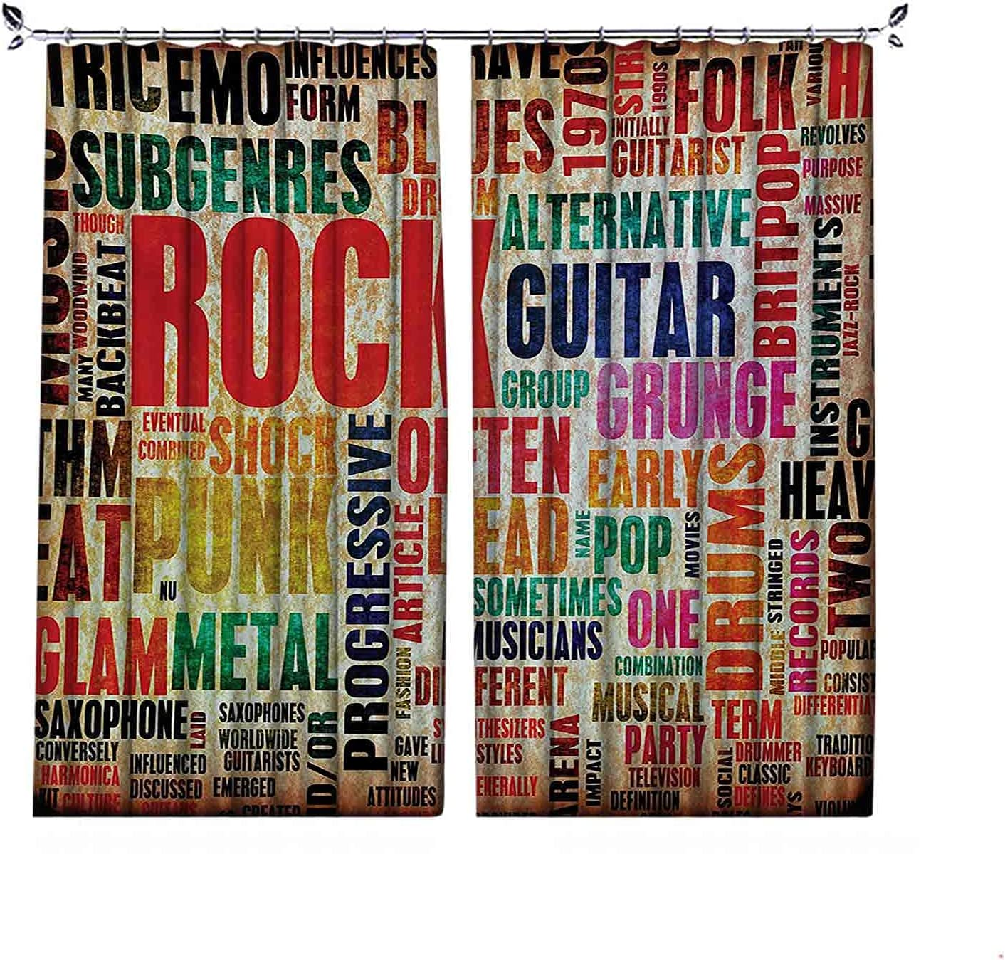 Room Free shipping New Darkening Max 53% OFF Music Curtain Retro Rock Letteri Roll Symbol and