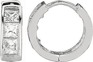 Ritastephens Sterling Silver Princess-cut Cubic Zirconia Huggie Hoop Earrings 3.5x9 Mm