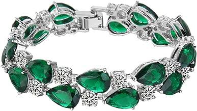 EVER FAITH Women's Prong Cubic Zirconia Vintage Style Dual Layer Tear Drop Bracelet