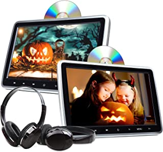 "2021 Car Portable DVD Player, 10.1"" Dual Car DVD Player with 2 Wireless Headphones, Car Headrest Monitors, Headrest Video ..."
