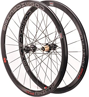 ホイールセット 700C 40mm ロードバイク ホイールセット ディスクブレーキ カーボンチューブ ハブ 8-9-10-11速度 カセット 反射カーソル 車輪 (Color : Red, Size : QR)