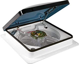 Fan-Tastic Vent 1250 Series White RV Roof Vent, 3-Speed Manual Crank RV Vent Fan, Smoke Dome RV Vent Cover
