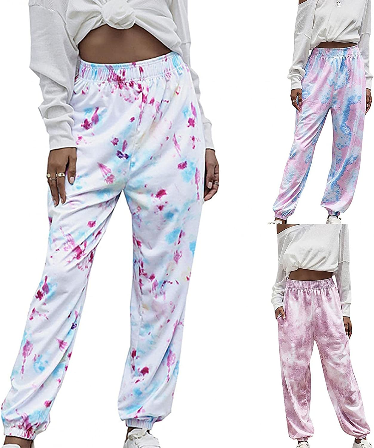 Lovor Women's Cinch Bottom Sweatpants with Pockets Tie Dye High Waisted Sweats Athletic Jogger Trousers Sports Pants