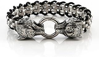 RSBCSHI Bracelet en Cuir de la tête de Loup en Acier Inoxydable, poignée de Tissage Fait Main Style Punk Large Bracelet, B...