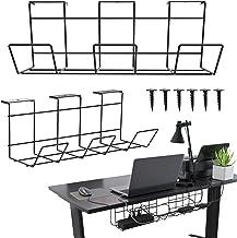 Under Desk Cable Tray - Cable Management Basket for Computer Tables. Cable Basket Set (2x18'') for Under Desk Cord Managem...