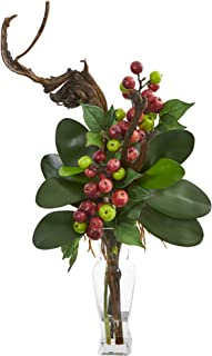 Nearly Natural 1731-GR Phalaenopsis Orchid /& Mini Apple Artificial Silk Arrangements Green