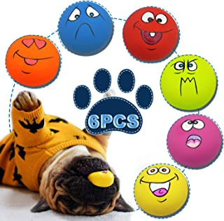 Adusa Latex Dog Chewing Squeaky Ball Toys Face Fetch Play Toy for Puppy Small Medium Pets Dog cat 6PCS/Set