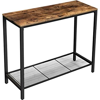 VASAGLE Console Table, Sofa Table, Entryway Table with Metal Mesh Shelf, 39.4 x 13.8 x 31.5 Inches, for Hallway, Entryway, Living Room, Industrial Rustic Brown ULNT86X