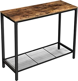 VASAGLE INDESTIC Console Table, Sofa Table, Entryway Table with Metal Mesh Shelf, 39.4 x 13.8 x 31.5 Inches, for Hallway, Entryway, Living Room, Industrial Rustic Brown ULNT86X