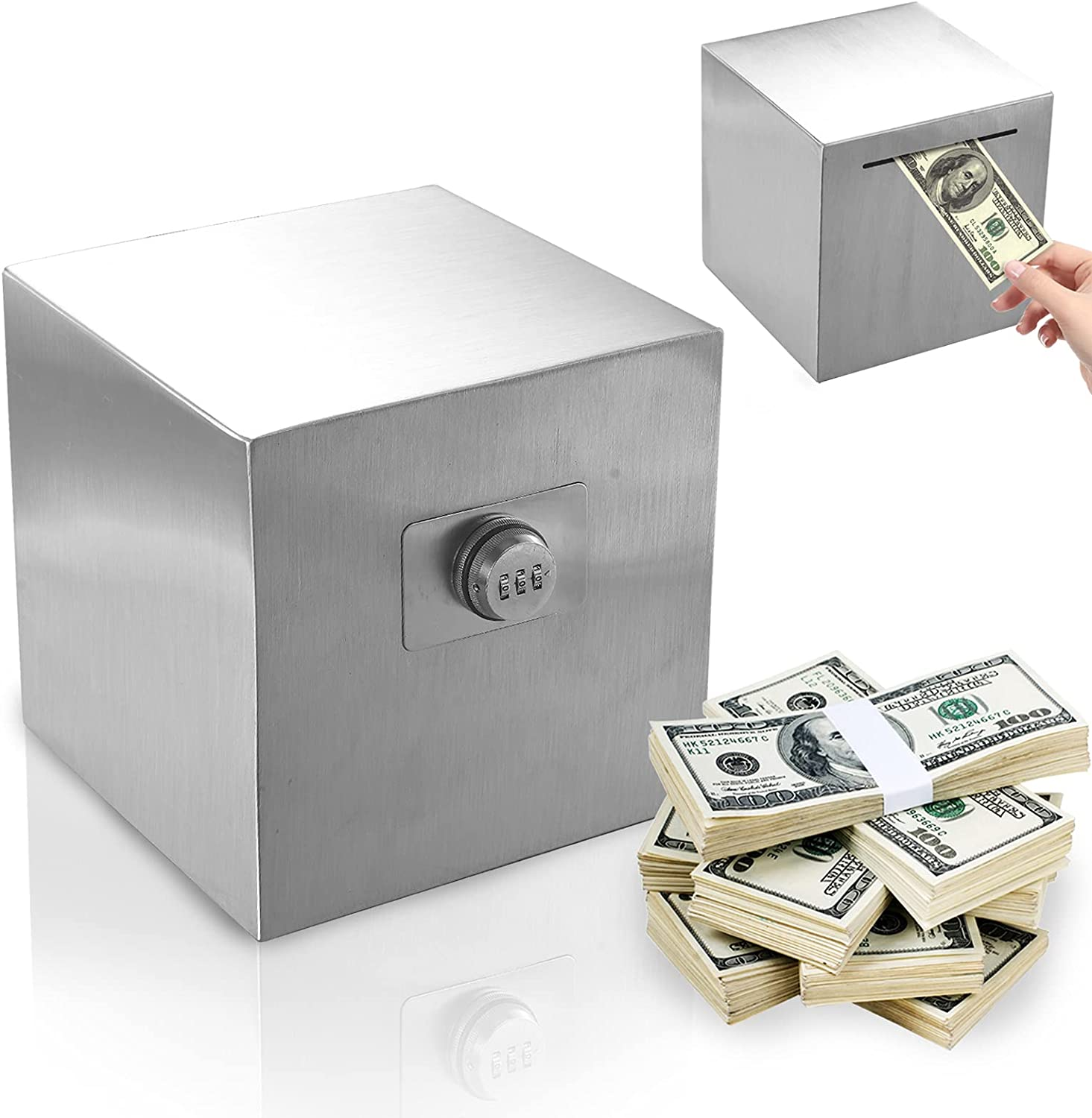 necaces Piggy Bank Large Adults 4 years warranty Stainless Steel Outlet sale feature for