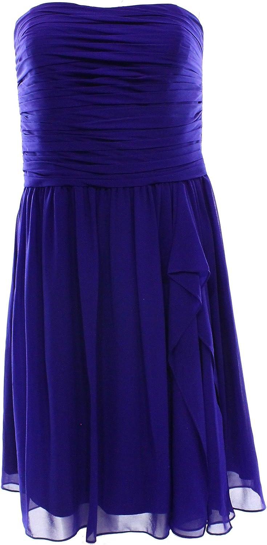 Lauren Ralph Lauren Women's Pleated Ruffle Drape Crepe Dress