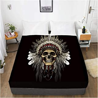 MOLUO Draps de lit personnalisés 3D avec élastique, drap-housse Queen/King, housse de matelas motif tête de mort noire 13...