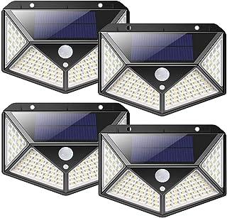 4PCS 100 LED PIR Lumiere solaire capteur de mouvement étanche lampe extérieure