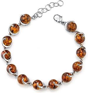 Baltic Amber Spiral Bracelet Sterling Silver Cognac Color Round Sphere Shape