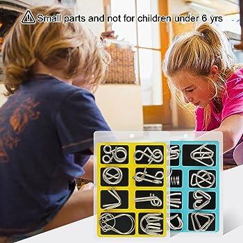 Coogam Metal Wire Puzzle Set of 16 with Pouch,Brain Teaser IQ Test Disentanglemen Iron Link Unlock Interlock Game Chi...