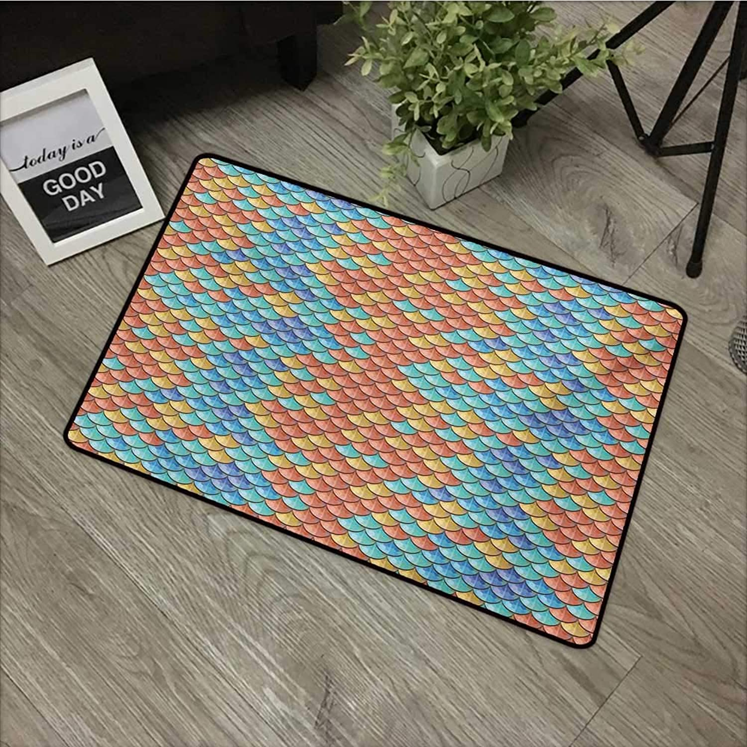 Pad W24 x L35 INCH Fish,Maritime Animal Scales Pattern Abstract Geometric Half Circles Mermaid Tail Design,Multicolor with Non-Slip Backing Door Mat Carpet