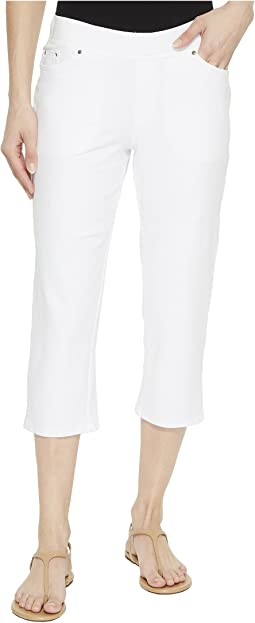Stretch Knit Twill Straight Leg Capris
