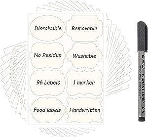 96PCS Dissolvable Food Labels Stickers Safe Dissolving Labels No Adhesive Residue