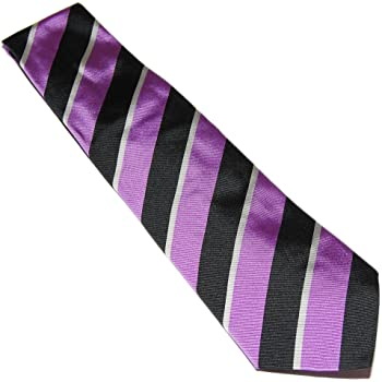 Ralph Lauren Purple Label Mens Silk Hand Made Dress Tie Italy Black White Stripe