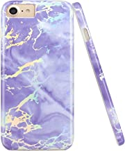 JAHOLAN Shiny Holographic Purple Marble Design Clear Bumper Glossy TPU Soft Rubber Silicone Cover Phone Case Compatible with iPhone 7 iPhone 8 iPhone 6 6S