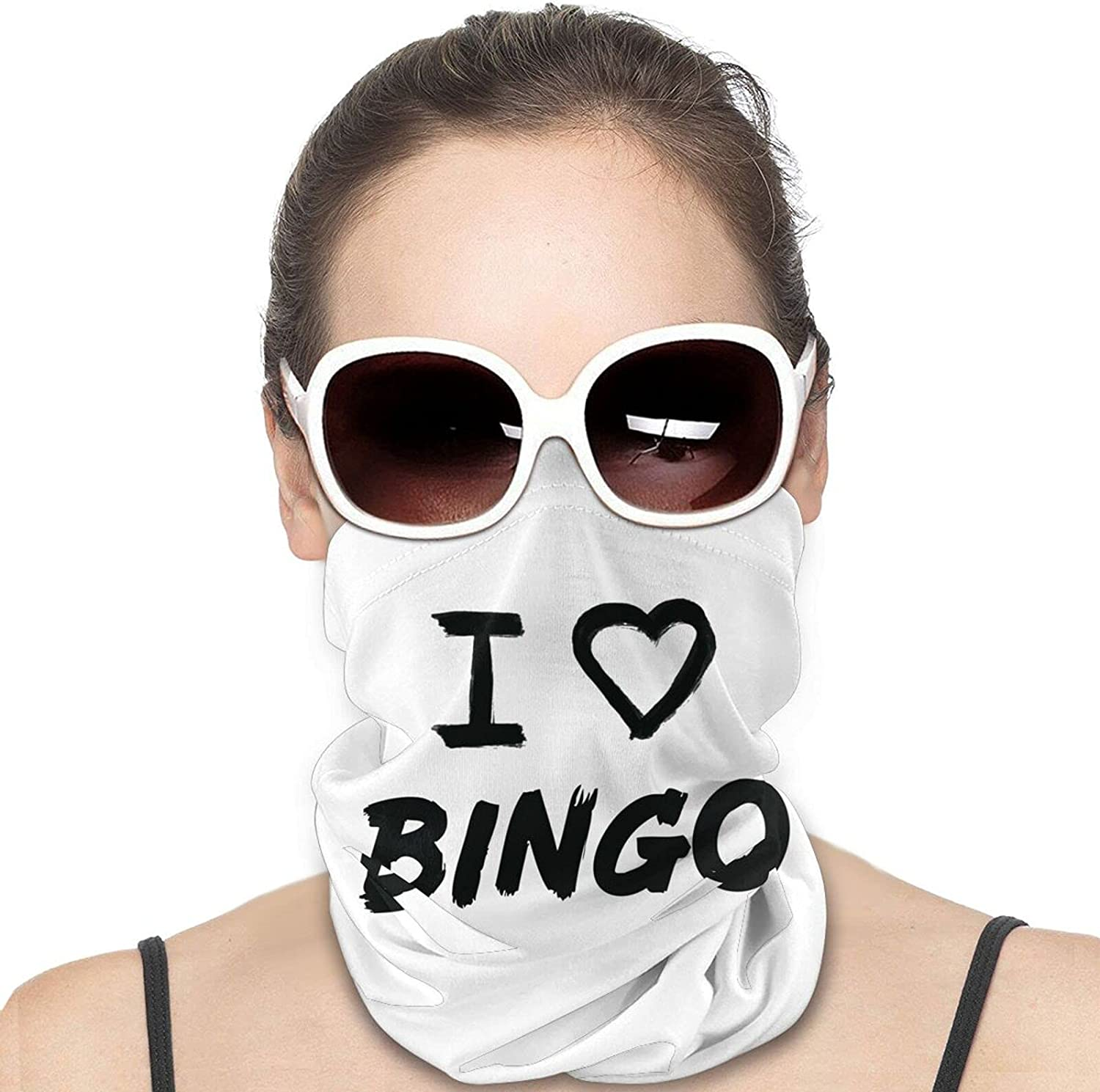 I Love Bingo Round Neck Gaiter Bandnas Face Cover Uv Protection Prevent bask in Ice Scarf Headbands Perfect for Motorcycle Cycling Running Festival Raves Outdoors