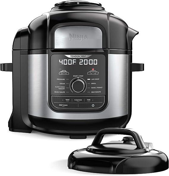 Ninja FD401 Foodi 8-qt. 9-in-1 Deluxe XL Cooker & Air Fryer-Stainless Steel Pressure Cooker