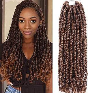 Cadiro 7 Packs Pre-twisted Passion Twist Crochet Hair 18 Inch Pre-looped Passion Twist Crochet Hair Extensions (T30)