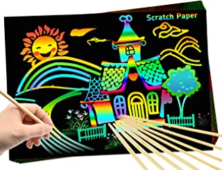 FLY2SKY Scratch Paper Art for Kids 55pcs Rainbow Scratch Paper + 8pcs Wooden Stylus Magic Art Paper DIY Scratch Off Art and Crafts for Kids Boys Girls Drawing Art Supplies Party Favors Party Game