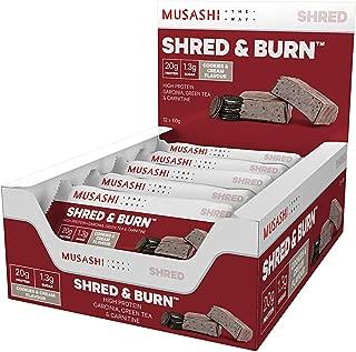 MUSASHI(ムサシ)Shred & Burn 燃焼 プロテインバー 60g x12本(クッキー&クリーム味)[海外直送品]
