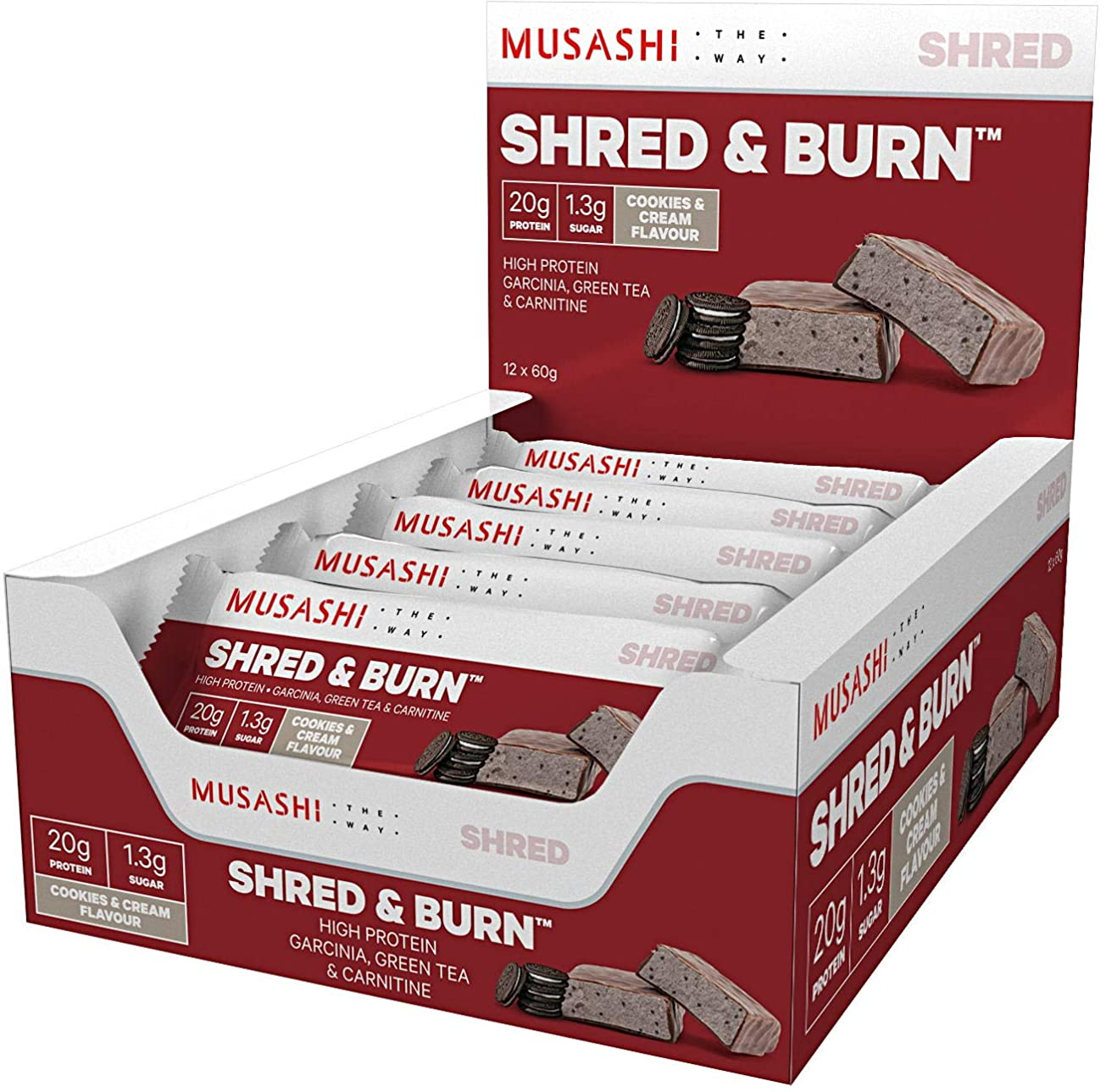 変更ダイヤルおいしいMUSASHI(ムサシ)Shred & Burn 燃焼 プロテインバー 60g x12本(クッキー&クリーム味)[海外直送品]