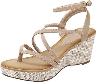 a6381dff166f20 BIGTREE High Heel Sandals Bohemian Platform Wedge Strappy Sandals for Women