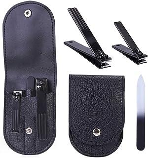 مجموعة أدوات تشذيب الأظافر المكونة من 3 قطع من الفولاذ المقاوم للصدأ مع حقيبة حمل وقصافات أظافر القدم والأظافر مع مبرد أظافر.