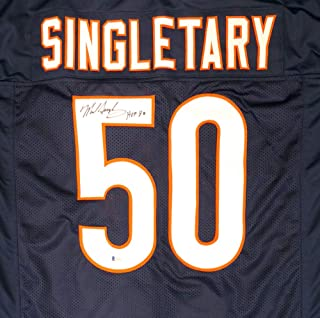 "CHICAGO BEARS MIKE SINGLETARY AUTOGRAPHED BLUE JERSEY""HOF 98"" BECKETT BAS STOCK #135249"