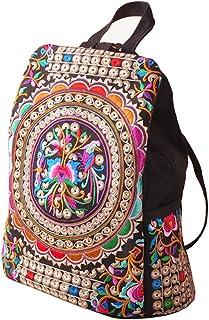 Estilo del bordado de la lona del bordado del estilo étnico de las muchachas de las mujeres bolsos del bolso del viaje de la mochila