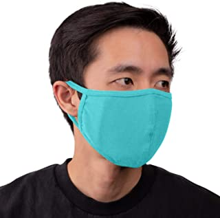 Aulin� Collection Made in USA Cotton Fabric Washable Reusable Filter Pocket Face Mask, Mint 1 PK