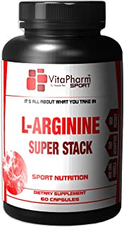VitaPharm Nutrition Sport - L-Arginine Pro Complex. Nitric Oxide Growth Caps. Muscle Growth. Increased Stamina. Strength. Nitric Oxide Booster. Top Rated,Plus Citrulline Complex