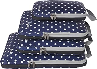 Bagail 4 Set Compression Packing Cubes Travel Expandable Packing Organizers (Navy Dot)