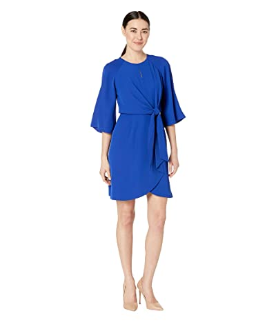 Tahari by ASL Petite Short Sleeve Crepe Shift w/ Keyhole Neck (Cobalt) Women
