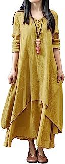 R.Vivimos Women's Long Cotton Linen Loose Dress