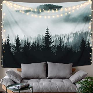 """BLEUM CADE Misty Forest Tapestry Mountain Tapestry Wall Hanging Fantastic Fog Magical Trees Tapestry Nature Landscape Tapestry for Bedroom Living Room Dorm (Misty Forest with Mountain, 59.1"""" x 82.7"""")"""