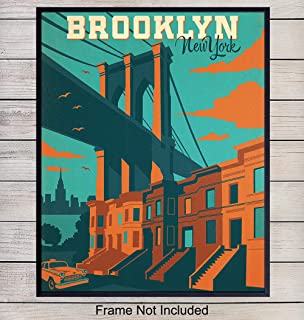 Brooklyn Travel Poster Style Wall Art Print - 8x10 Vintage Style Home and Apartment Decor, Room Decorations - Perfect Gift for New Yorker, NYC, New York, Manhattan, Big Apple Fans - Unframed Photo