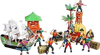 سفينة قراصنة لعبة وجزيرة وبرج ساعة وأشكال القراصنة ومجموعة صناديق الكنوز الصغيرة لديكورات الحفلات أو زينة كعكة عيد الميلاد
